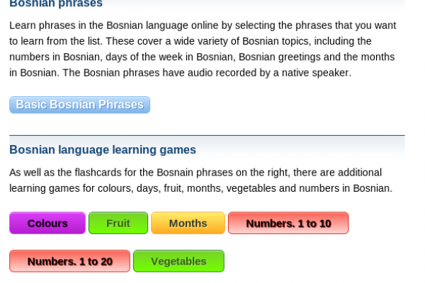 Free Bosnian Audio Phrasebook, Games and Mobile Apps (Android, iOS) to Learn Basic Bosnian for Travel and Living