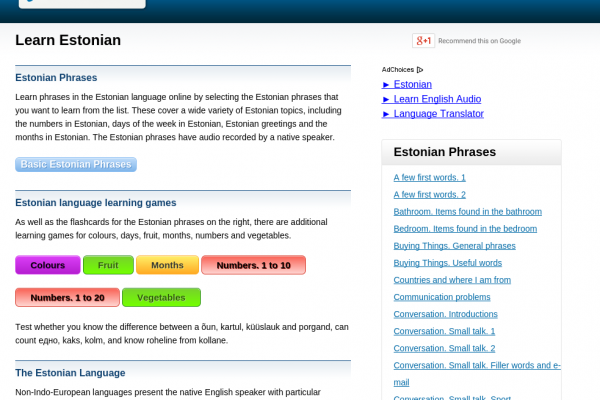 Free Estonian Audio Phrasebook, Games and Mobile Apps (Android, iOS) to Learn Basic Estonian for Travel and Living