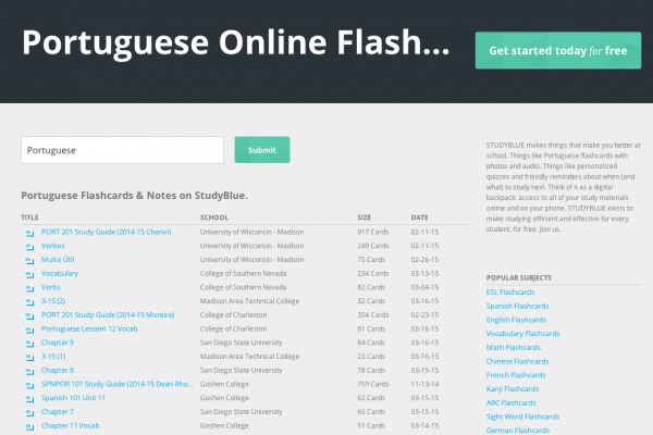 Slick Free Portuguese Flashcard Service with Web & Mobile Apps