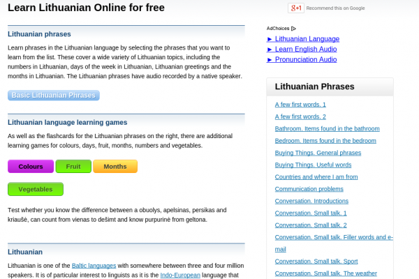 Free Lithuanian Audio Phrasebook, Games and Mobile Apps (Android, iOS) to Learn Basic Lithuanian for Travel and Living