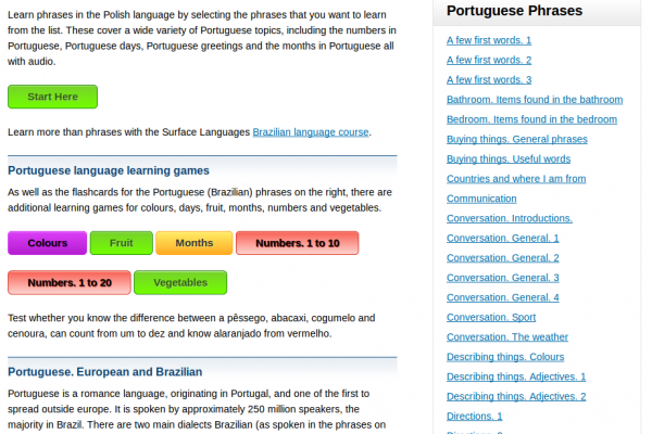 Free Brazilian Portuguese Audio Phrasebook, Games and Mobile Apps (Android, iOS) to Learn Basic Brazilian Portuguese for Travel and Living