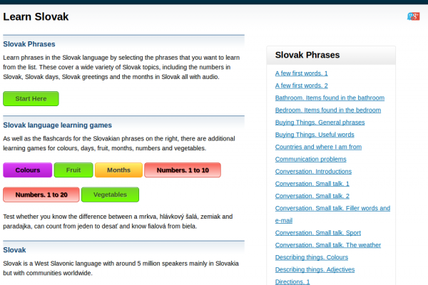Free Slovak Audio Phrasebook, Games and Mobile Apps (Android, iOS) to Learn Basic Slovak for Travel and Living
